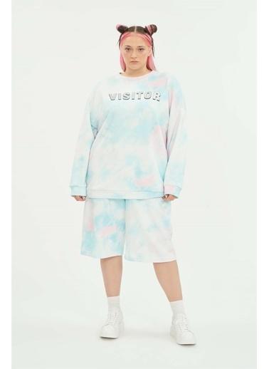 Luokk Thomas Bol Kesim Baskılı Kadın Sweatshirt Renkli